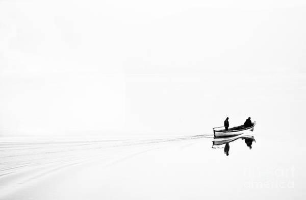 Work Boat Photograph - Retro Image Of Fishermen In High Key by Ludmila Yilmaz