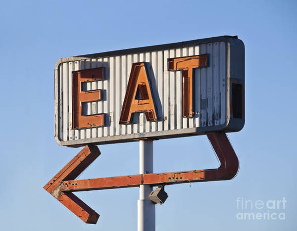 Wall Art - Photograph - Retro Neon Eat Sign Ruin In Early by Trekandshoot
