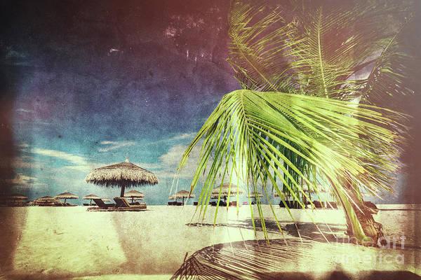 Wall Art - Photograph - Retro Postcard With Maldivian Beach by Michal Bednarek
