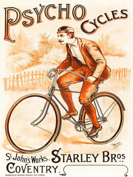 Wall Art - Painting - Retro Psycho Cycles Vintage Bicycle Advertisement by Tina Lavoie