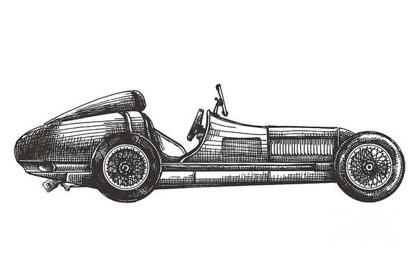 Engraved Digital Art - Retro Racing Car On A White Background by Ava Bitter