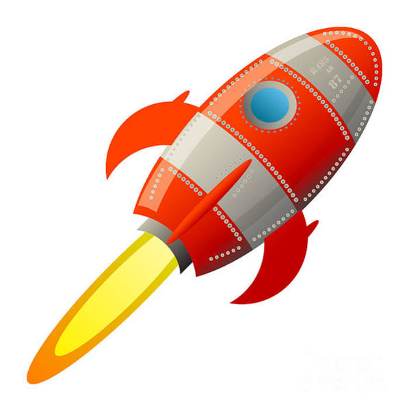 Stylized Wall Art - Digital Art - Retro Rocket, Vector Illustration by Astudio