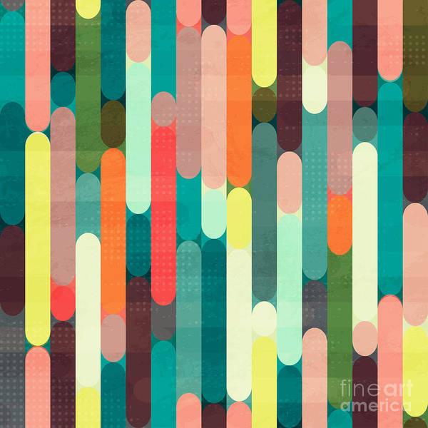 Wall Art - Digital Art - Retro Stripe Seamless Pattern With by Gudinny
