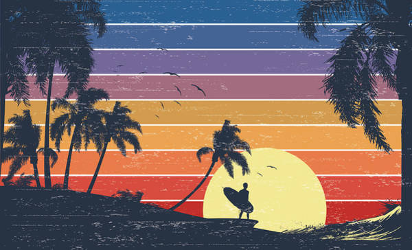 Seagull Digital Art - Retro Surfer Sunset by Kycstudio