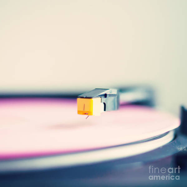 Wall Art - Photograph - Retro Turntable With Pink Vinyl by Andrekart Photography