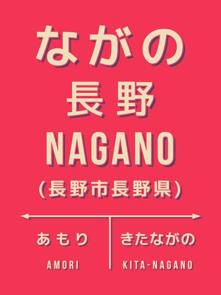 Wall Art - Digital Art - Retro Vintage Japan Train Station Sign - Nagano Chubu Red by Ivan Krpan