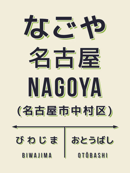 Vintage Poster Digital Art - Retro Vintage Japan Train Station Sign - Nagoya Cream by Ivan Krpan