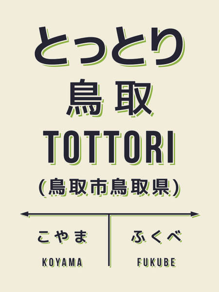 Wall Art - Digital Art - Retro Vintage Japan Train Station Sign - Tottori City Cream by Ivan Krpan