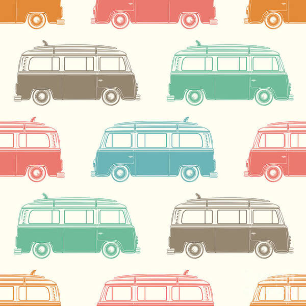 Camper Wall Art - Digital Art - Retro, Vintage, Travel, Camper Van by Aleksandrs Bondars