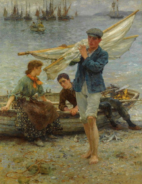 Wall Art - Painting - Return From Fishing, 1907 by Henry Scott Tuke