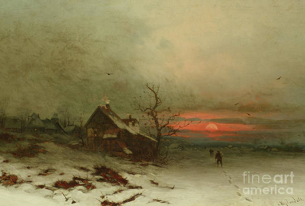 Barn Snow Painting - Returning Home At Sunset by Friedrich Nicolai Joseph Heydendahl