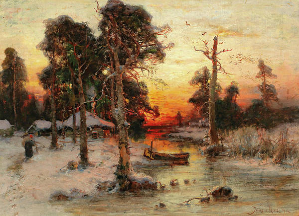 Russian River Painting - Returning Home At Sunset by Julius Sergius Klever