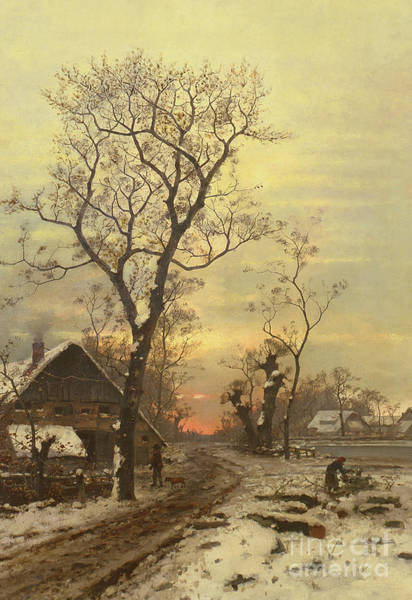 Wall Art - Painting - Returning Home On A Winter Night by Carl Schultze