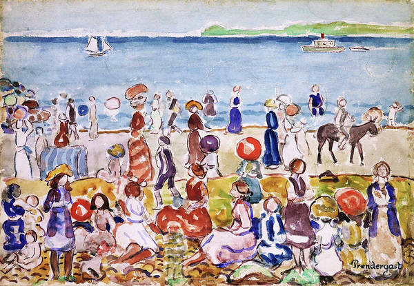Wall Art - Painting - Revere Beach No.2 - Digital Remastered Edition by Maurice Brazil Prendergast