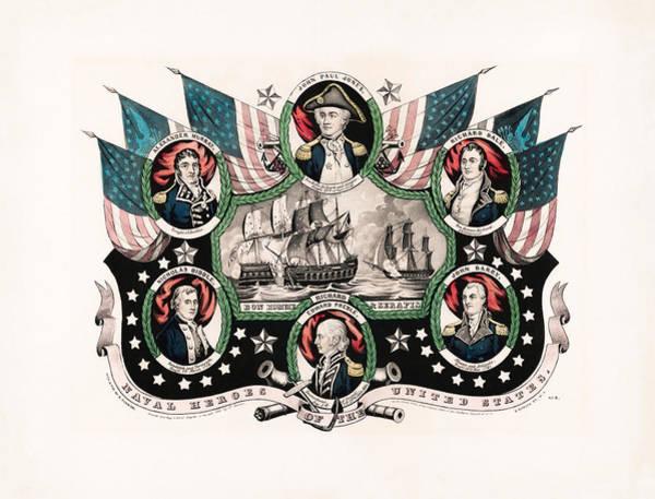 Revolutionary War Mixed Media - Revolutionary War Naval Heroes - John Paul Jones  by War Is Hell Store