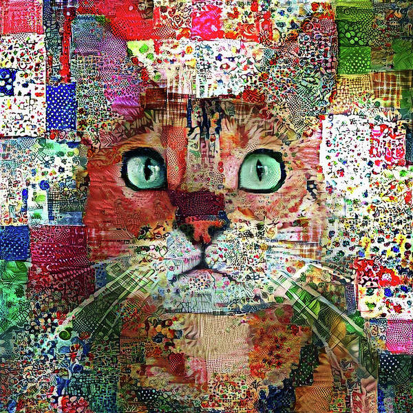 Digital Art - Rex The Patchwork Quilted Tabby Cat by Peggy Collins