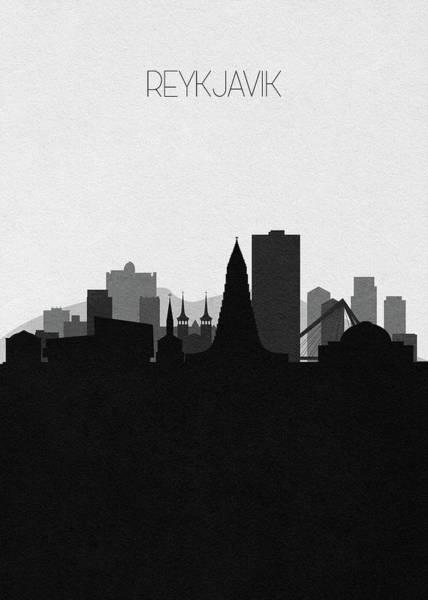 Digital Art - Reykjavik Cityscape Art by Inspirowl Design