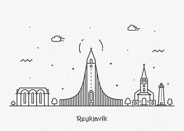 Drawing - Reykjavik Cityscape Travel Poster by Inspirowl Design
