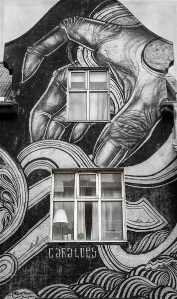 Wall Art - Photograph - Reykjavik Iceland Mural Bw by Joan Carroll
