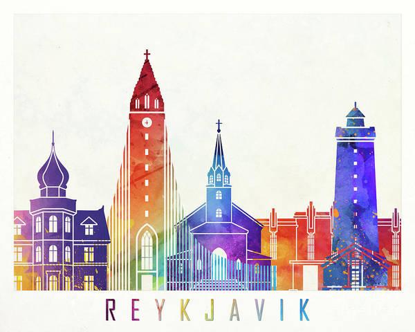 Wall Art - Painting - Reykjavik Landmarks Watercolor Poster by Pablo Romero