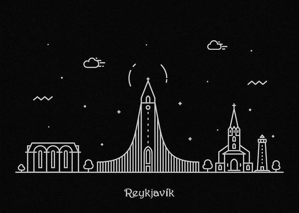 Iceland Digital Art - Reykjavik Skyline Travel Poster by Inspirowl Design