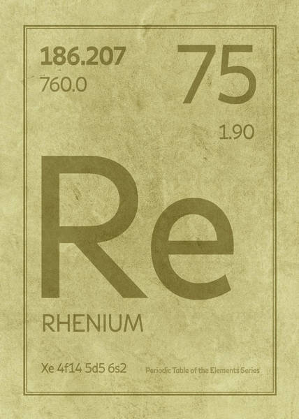 Elements Mixed Media - Rhenium Element Symbol Periodic Table Series 075 by Design Turnpike