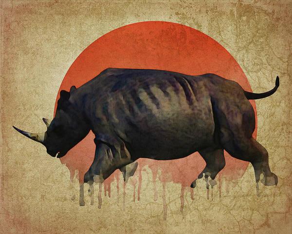 Digital Art - Rhino Fleeing by Jan Keteleer