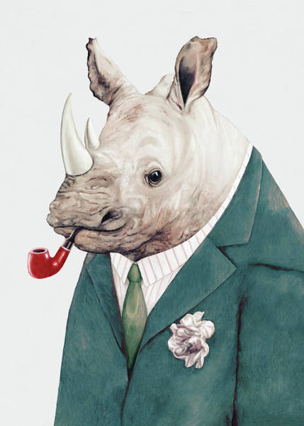 Animals In Clothes Wall Art - Painting - Rhino In Teal by Animal Crew