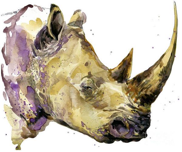 Rhinoceros Watercolor. African Animal Art Print