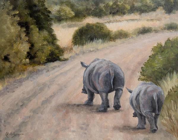 Rhino Painting - Rhinos by Kirsty Rebecca