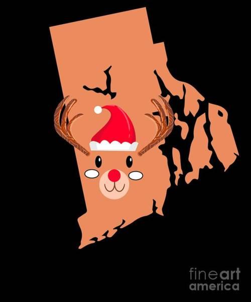 Ugly Digital Art - Rhode Island Christmas Hat Antler Red Nose Reindeer by TeeQueen2603