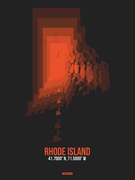 Wall Art - Digital Art - Rhode Island Map Orange by Naxart Studio