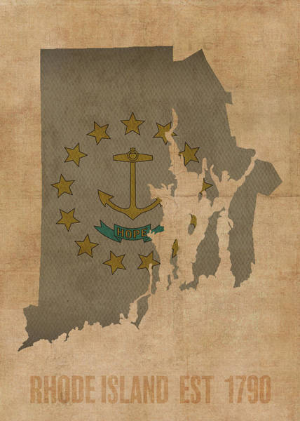 Island Mixed Media - Rhode Island State Flag Map Founded Date by Design Turnpike
