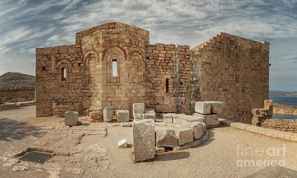 Knights Templar Photograph - Rhodes Lindos Acropolis Church Of Saint John by Antony McAulay