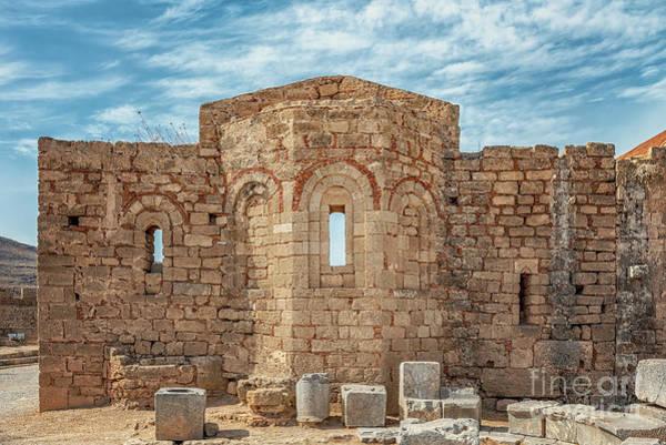 Knights Templar Photograph - Rhodes Lindos Acropolis Church Of Saint John Facade by Antony McAulay