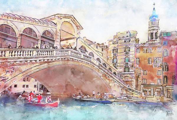 European Vacation Mixed Media - Rialto Bridge In Venice 1 by Jennifer Berdy