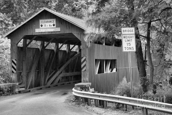 Photograph - Rices Covered Bridge Landscape Black And White by Adam Jewell