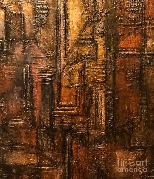 Painting - Rich Brown Bronze Heavy Textured Acrylic Painting by Sheila Wenzel