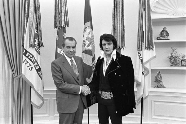 Painting - Richard M. Nixon And Elvis Presley At The White House by Celestial Images