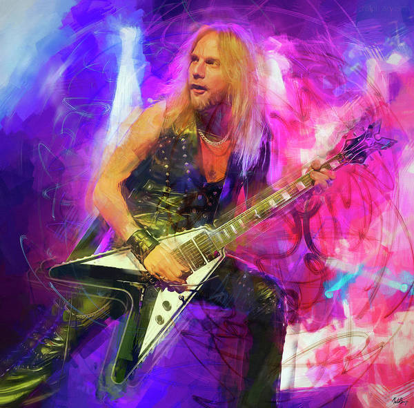 Wall Art - Mixed Media - Richie Faulkner Judas Priest by Mal Bray