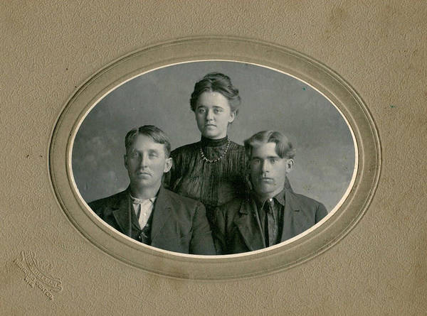 Painting - Richland Center, Wi, Portrait Of 3 Siblings, By Hillman, Circa 1900s by Hillman