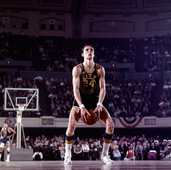 Scoring Photograph - Rick Barry Action Portrait by Walter Iooss Jr.