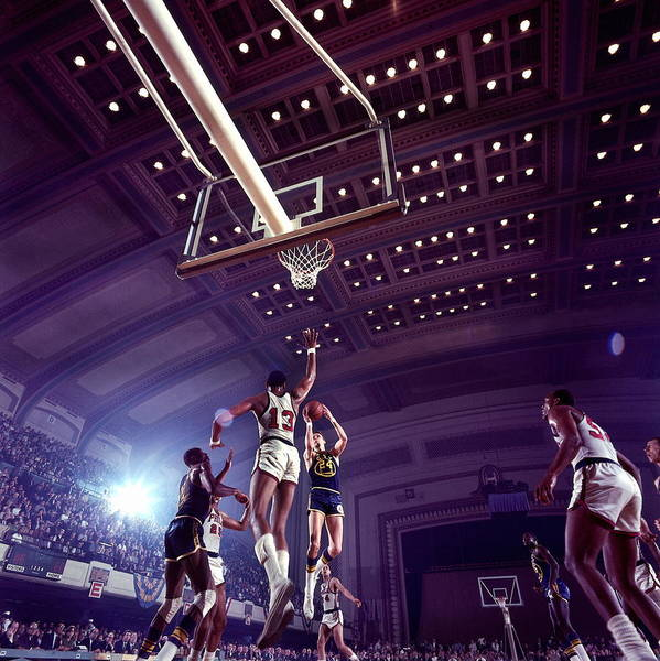 Scoring Photograph - Rick Barry And Wilt Chamberlain Action by Walter Iooss Jr.