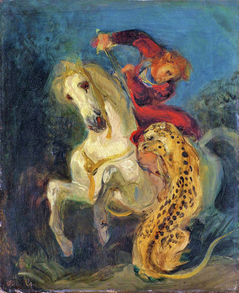 Wall Art - Painting - Rider Attacked By A Jaguar - Digital Remastered Edition by Eugene Delacroix