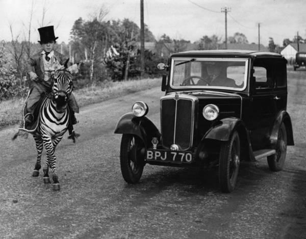 Top Hat Photograph - Riding A Zebra by Fox Photos