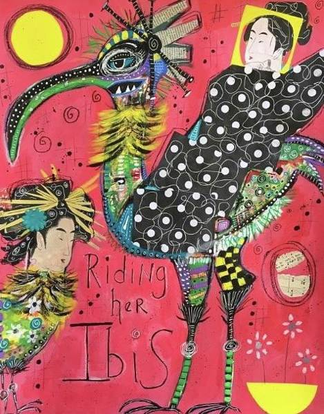 Geisha Mixed Media - Riding Her Ibis by Rita Rose