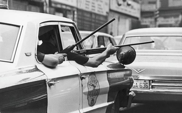 Street Photograph - Riding Shotgun During Newark Riots, 1967 by Fred W. McDarrah