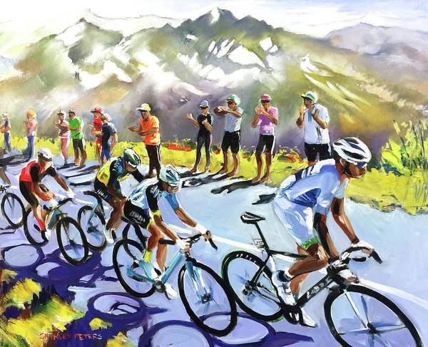 Le Tour De France Wall Art - Painting - Riding The Alpes In Sun by Shirley Peters