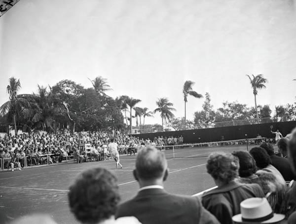 Exhibition Photograph - Riggs Vs. Kramer At Coral Beach Tennis by Bert Morgan