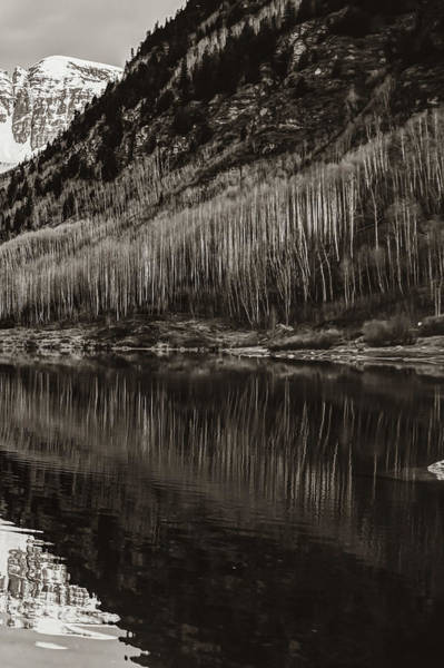 Photograph - Right Panel 3 Of 3 - Panoramic Maroon Bells Sepia Mountain Landscape by Gregory Ballos